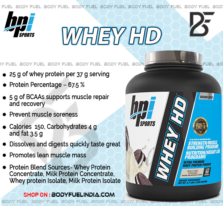 BPI Sports Whey HD, Whey Protein, Body Fuel – India's No.1 genuine Supplement store