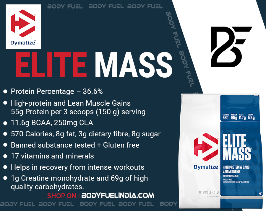 Dymatize Elite Mass, Gainers, Body Fuel India's no.1 Authentic Online Supplement Store