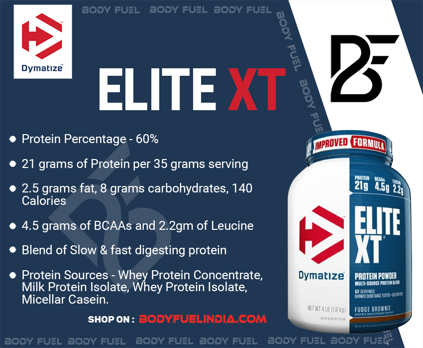 Dymatize Elite XT, Casein & Blended Protein, Body Fuel India's no.1 Authentic Online Supplement Store