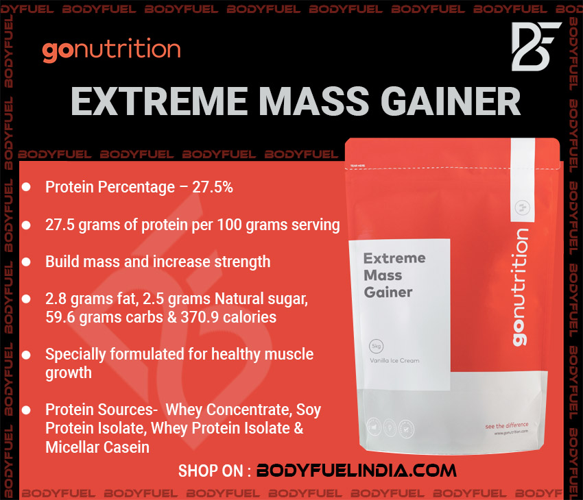 Go Nutrition Extreme Mass Gainer, Gainers, Body Fuel India's no.1 Authentic Online Supplement Store