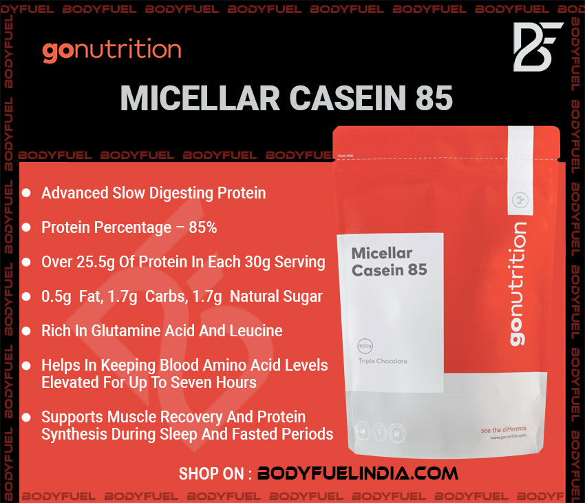 Go Nutrition Micellar Casein 85, Casein & Blended Protein, Body Fuel India's no.1 Authentic Online Supplement Store