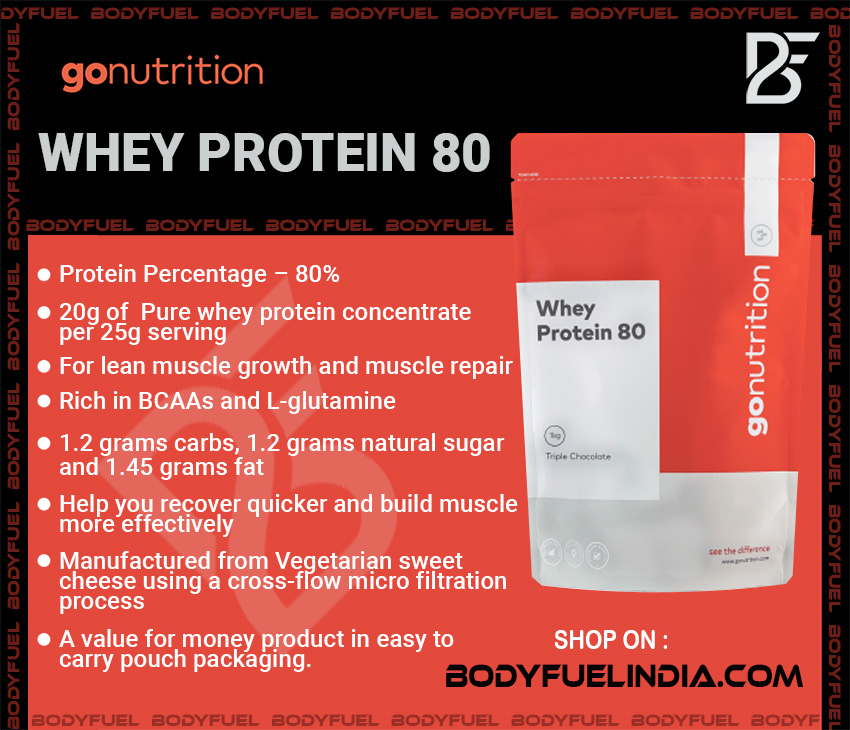 Go Nutrition Whey Protein 80, Whey Protein, Body Fuel India's no.1 genuine Supplement Store