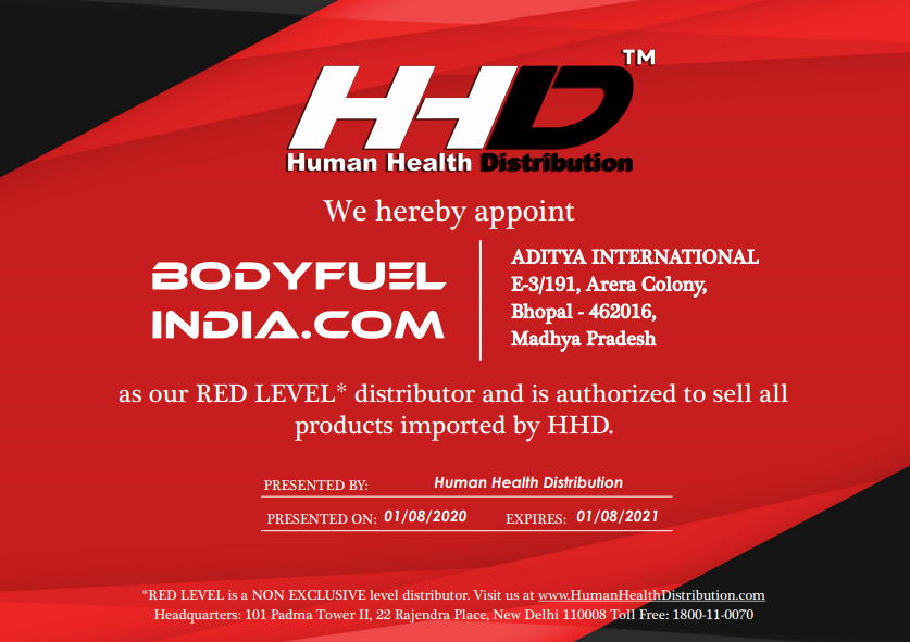 Authorized Importer, Human Health Distribution, Ultimate Nutrition, Body Fuel - India's no.1 Genuine Supplement Store