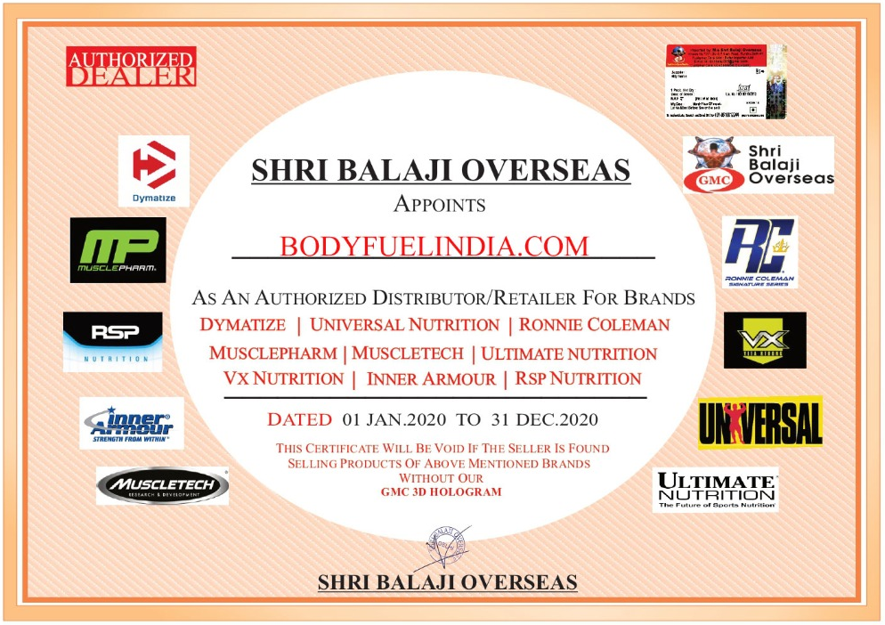 Authorized Importer, Shree Balaji Overseas, MusclePharm, Body Fuel - India's no.1 Genuine Supplement Store