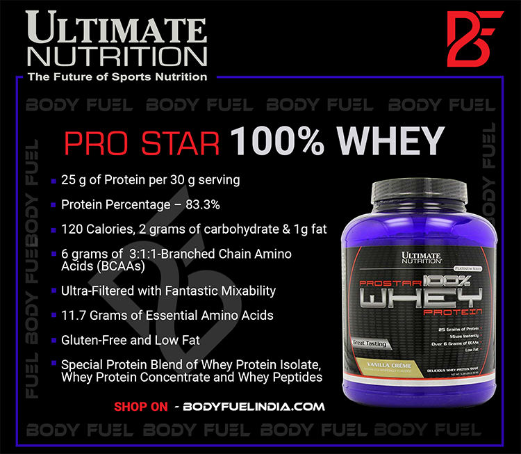 Ultimate Nutrition Prostar, Whey Protein, Body Fuel, Body Fuel India's no.1 Authentic Online Supplement Store