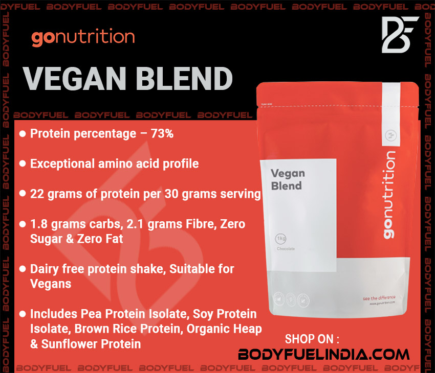Go Nutrition Vegan Blend, Casein & Blended Protein, Body Fuel India's no.1 Authentic Online Supplement Store