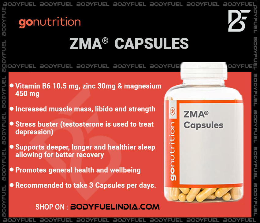 Go Nutrition ZMA, Vitamins & Supplements, Body Fuel India's no.1 Authentic Online Supplement Store