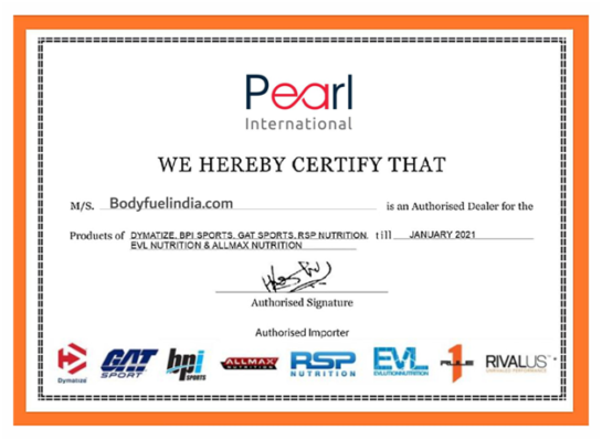 Pearl International Certificate, #1 Authorized Supplement Store, Body Fuel