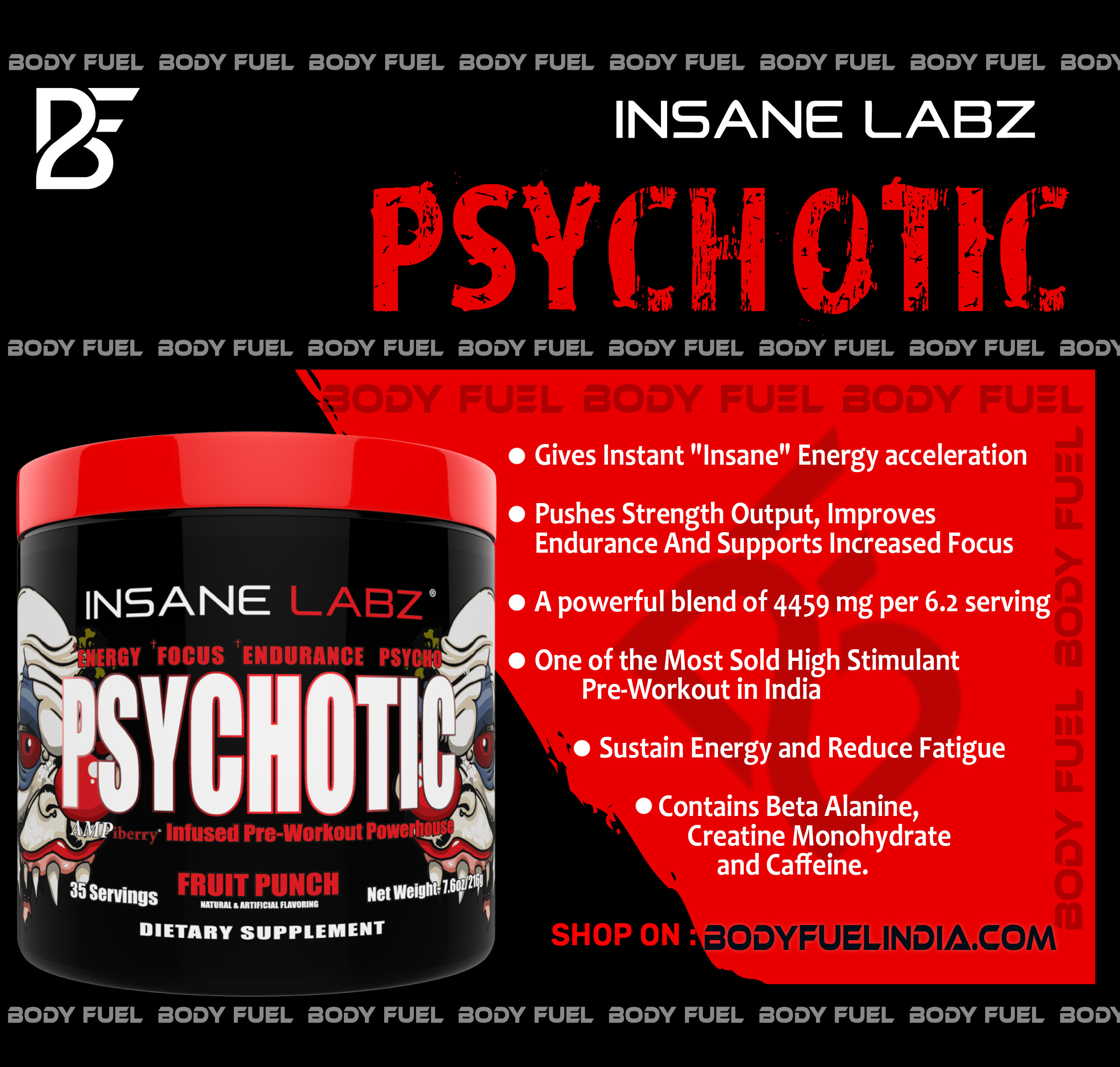 Insane Labz Psychotic, Ergogenics, Body Fuel India's no.1 Authentic Online Supplement Store