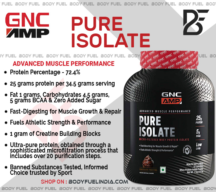 GNC AMP Pure Isolate Protein, Whey Protein Isolate, Body Fuel India's no.1 Authentic Online Supplement Store