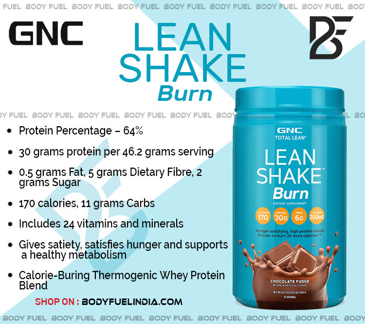 GNC Lean Shake Burn, Casein & Blended Protein, Body Fuel India's no.1 Authentic Online Supplement Store