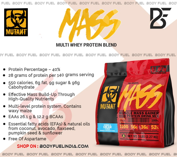 Mutant Muscle Mass Gainer, Gainer, Body Fuel India's no.1 Authentic Online Supplement Store.