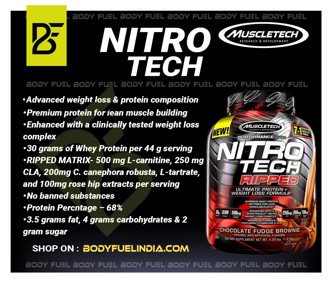 MuscleTech Nitrotech Ripped, Whey Protein, Body Fuel India no.1 Authentic Online Supplement Store
