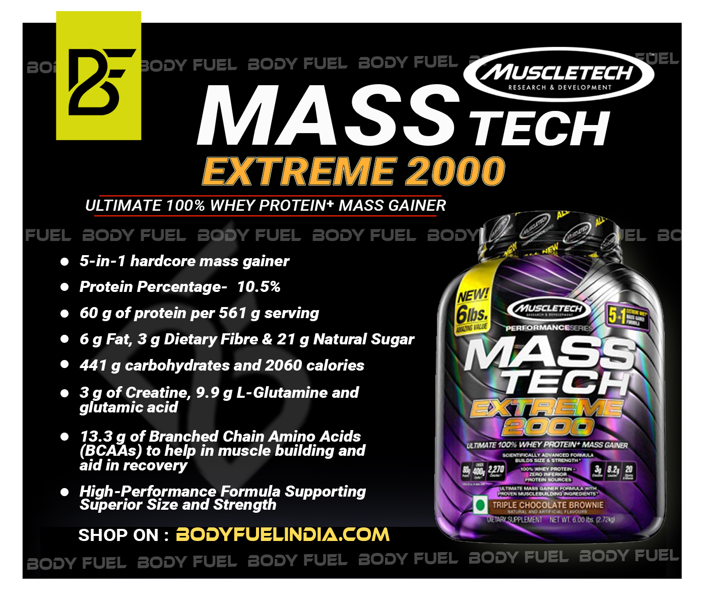 Muscletech Mass Tech Extreme 2000, Gainers, Body Fuel