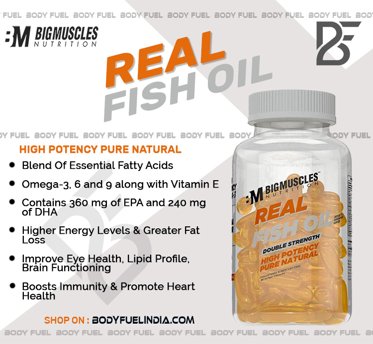 Big Muscles Real Fish Oil Double Strength, Vitamins & Supplements, Body Fuel India's No.1 Online Supplement Store