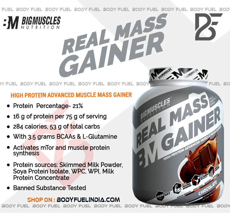 Big Muscles Real Mass Gainer, Gainers, Body Fuel India's No.1 Online Supplement Store