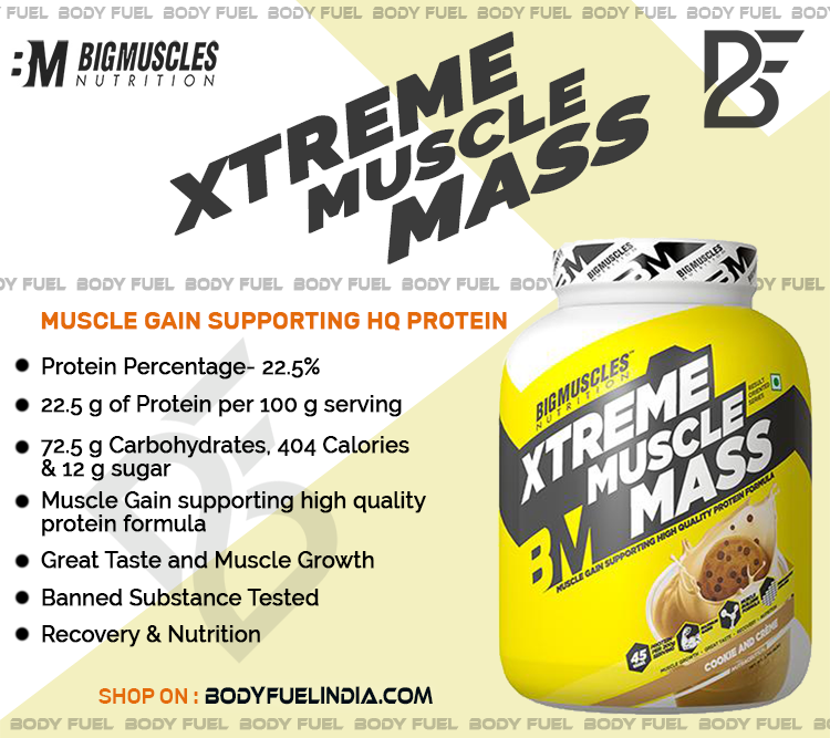 Big Muscles Xtreme Muscle Mass, Gainers, Body Fuel India's No.1 Genuine Supplement Store