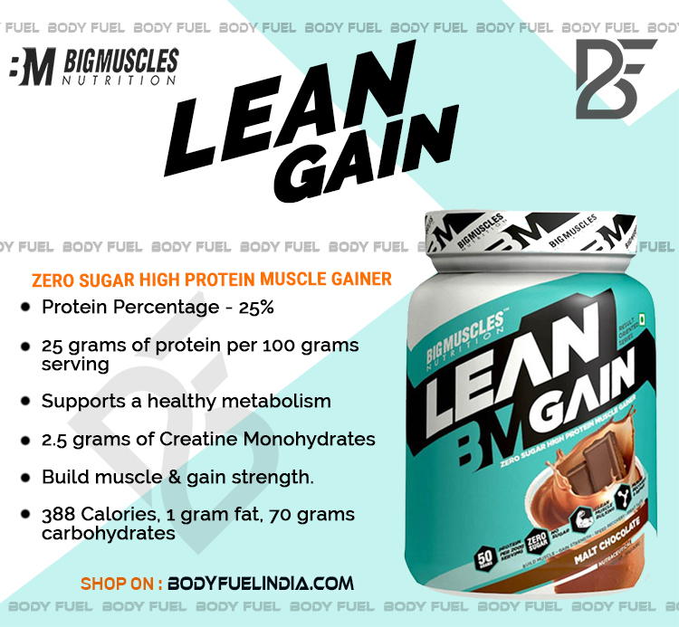 Big Muscles Lean Gain, Gainers, Body Fuel India, No.1 Online Supplement Store