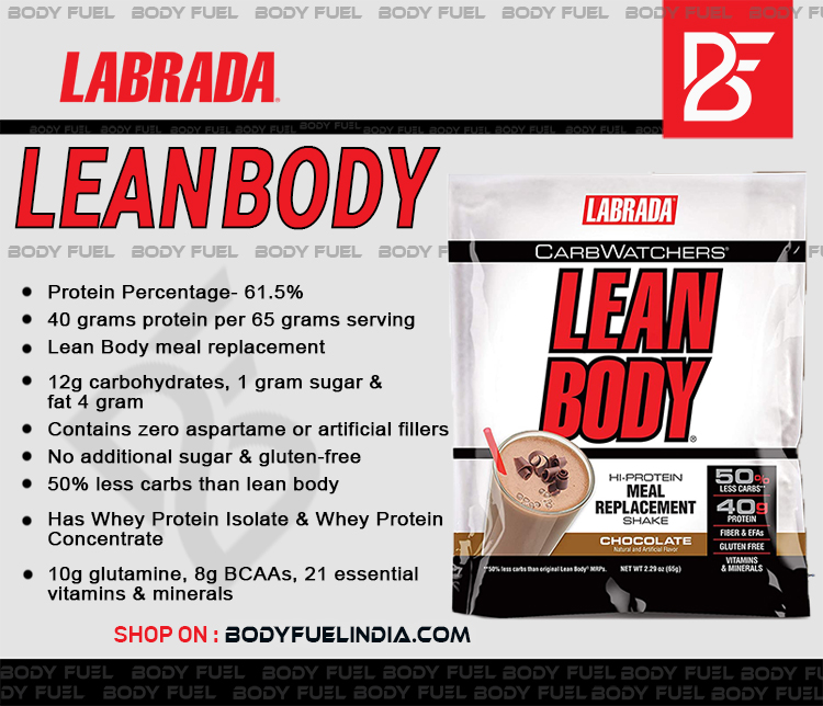 Labrada Lean Body Carb Watchers, Casein & Blended Protein, Body Fuel India's no.1 Authentic Online Supplement Store.