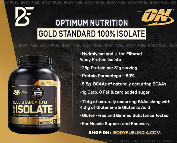 Optimum Nutrition Gold Standard 100% Isolate Protein, Whey Protein Isolate, Body Fuel, India's No.1 Original Supplement Store.