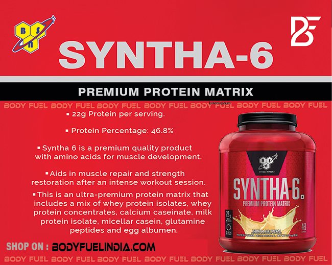 BSN Syntha 6 Protein Powder, Casein & Blended Protein, Body Fuel - India's No.1 Genuine Supplement Store