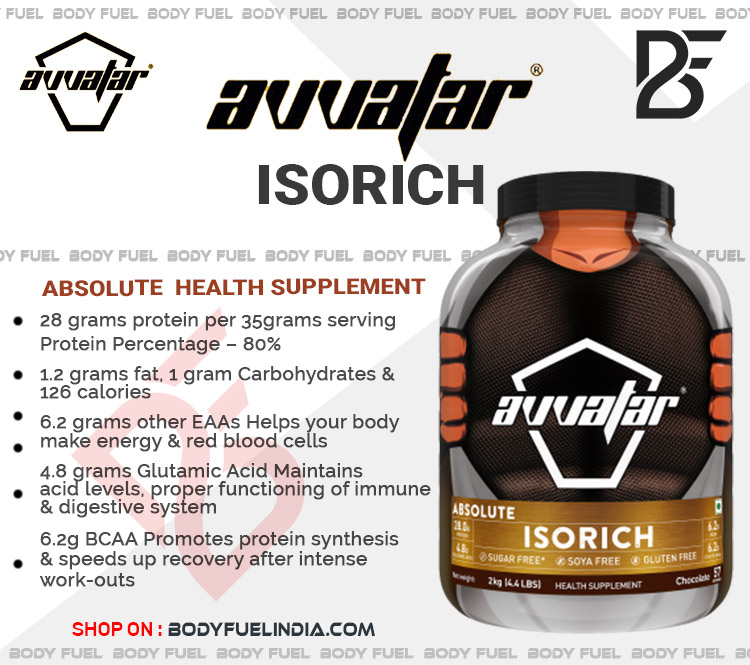 Avvatar Absolute Isorich Isolate Protein, Whey Protein Isolate,Body Fuel India's no.1 Genuine Online Supplement Store