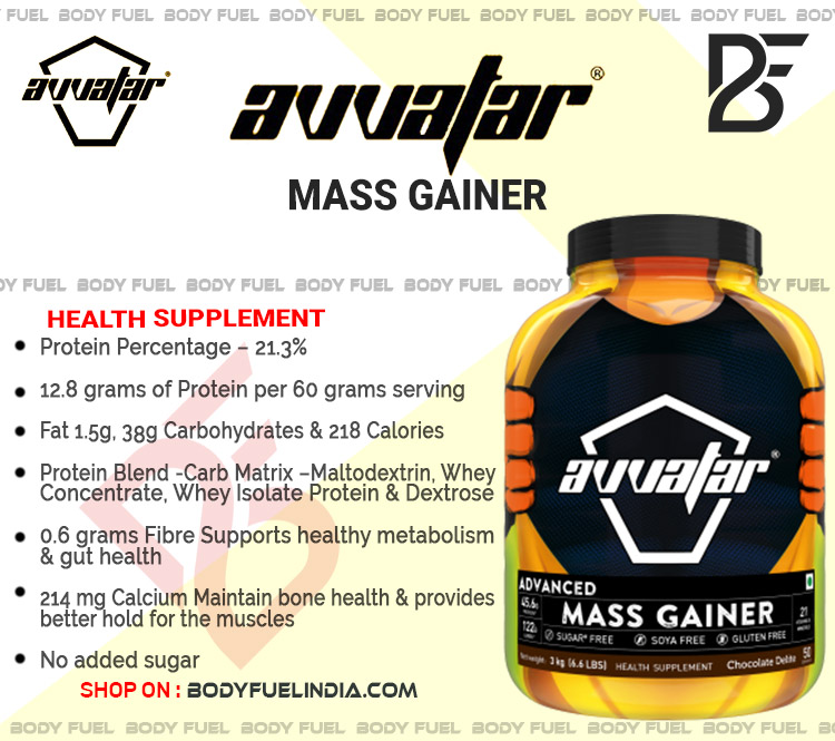 Avvatar Advanced Mass Gainer, Gainers, Body Fuel India's no.1 Genuine Online Supplement Store