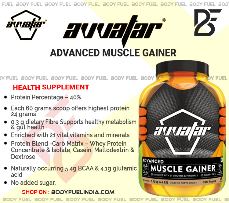 Avvatar Advanced Muscle, Gainers, Body Fuel India's no.1 Genuine Online Supplement Store