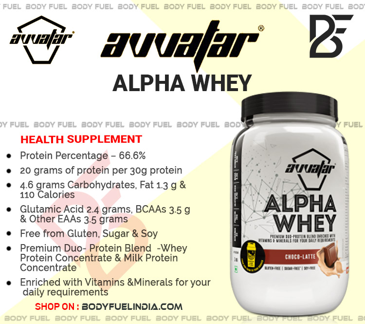 Avvatar Alpha Whey, Whey Protein, Body Fuel India's no.1 Authentic Online Supplement Store