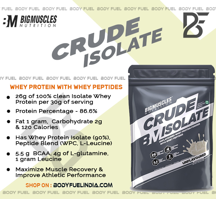 Big Muscle Crude Isolate Protein, Whey Isolate Protein,, Body Fuel India's no.1 Genuine Online Supplement Store