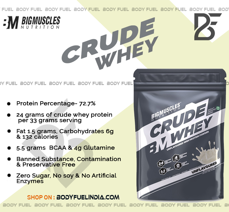 Big Muscles Crude Whey, Whey Protein, Body Fuel India's no.1 Online Supplement Store.