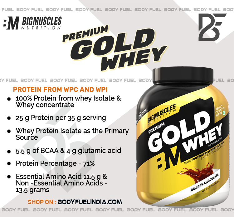 Big Muscles Premium Gold Whey Protein, Whey Protein, Body Fuel India's no.1 Genuine Online Supplement Store.