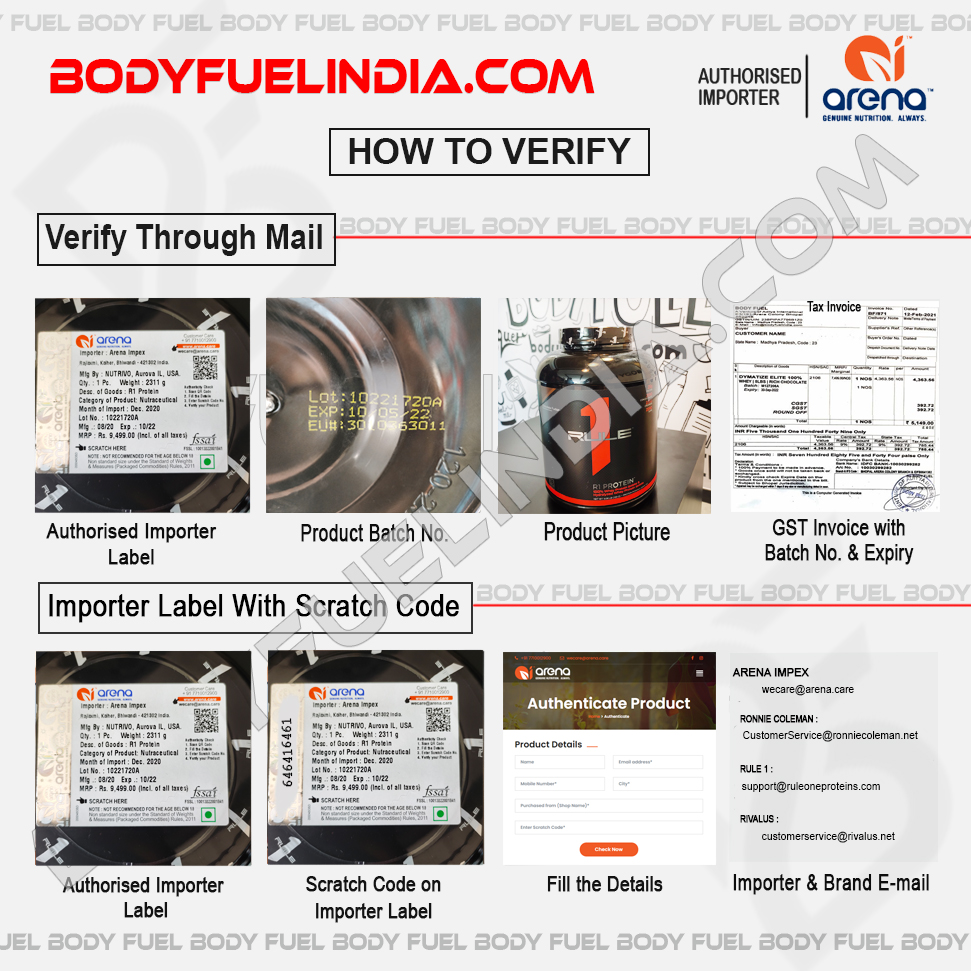 How To Verify, Authorized Importer Arena Impex, Body Fuel India's No.1 Supplement Store