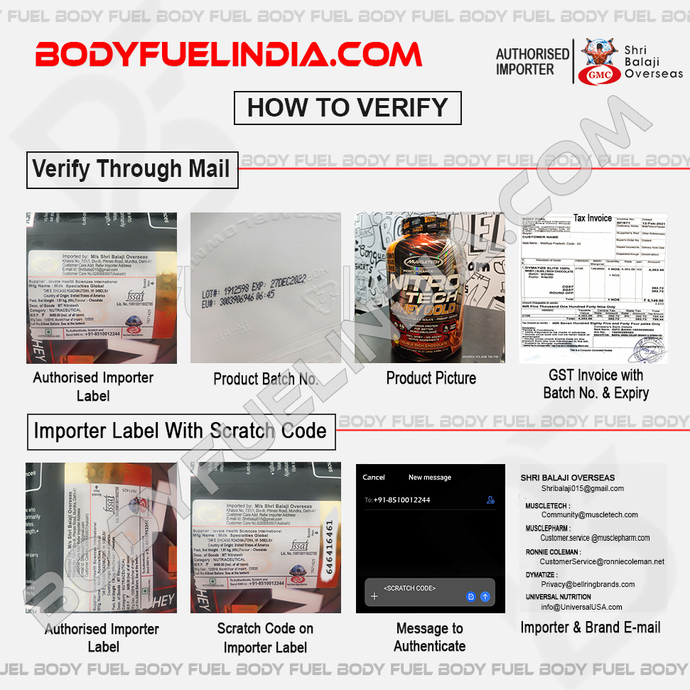 How To Verify Supplements, Shri Balaji Overseas, Authorized Importer, Body Fuel India's No.1 Genuine Supplement Store