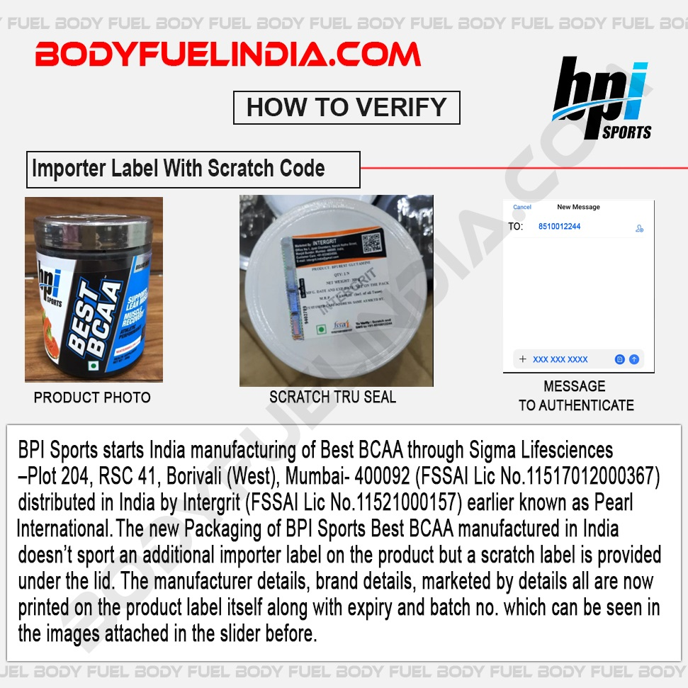 BPI Sports Starts Indian Manufacturing Of Best BCAA, How to Verify, Body Fuel India.